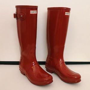 Tall Red Gloss Hunter Rain Boots